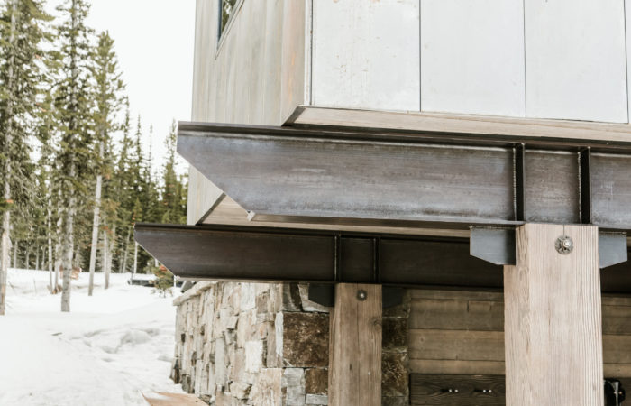 Exposed Exterior Beams And Wood Post Connection Details. Penetrol Finish.