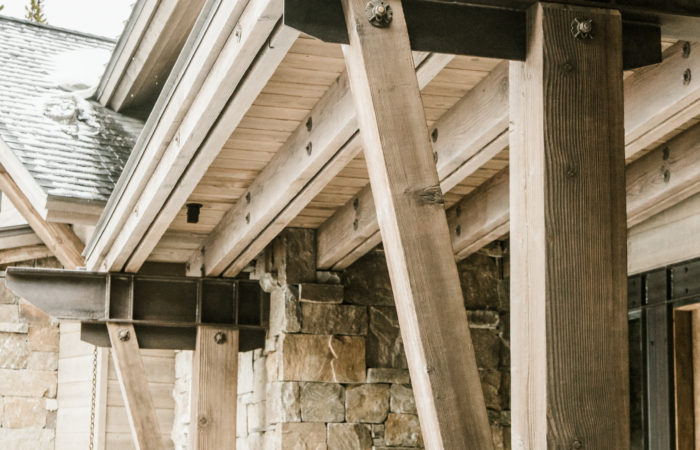 Exposed Exterior Steel Beams And Wood Post And Knee Brace Connection Details. Penetrol Finish.