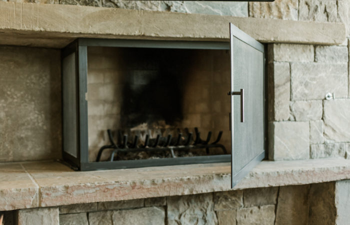 Fireplace Door And Screen. Hot Rolled Steel With Penetrol Finish.