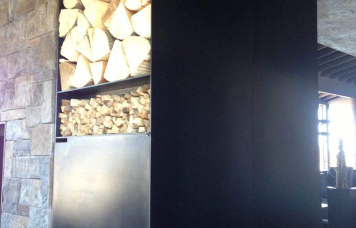Firewood Box. Plate Steel With Black Wax Finish.