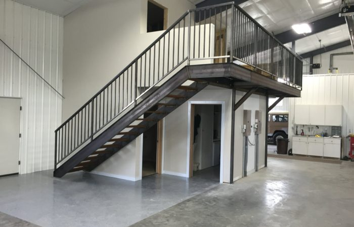 Stairs And Mezzanine Access. Bar Grate Treads C Channel Stairs Stringers Tube Steel Railing. Raw Finish Steel.