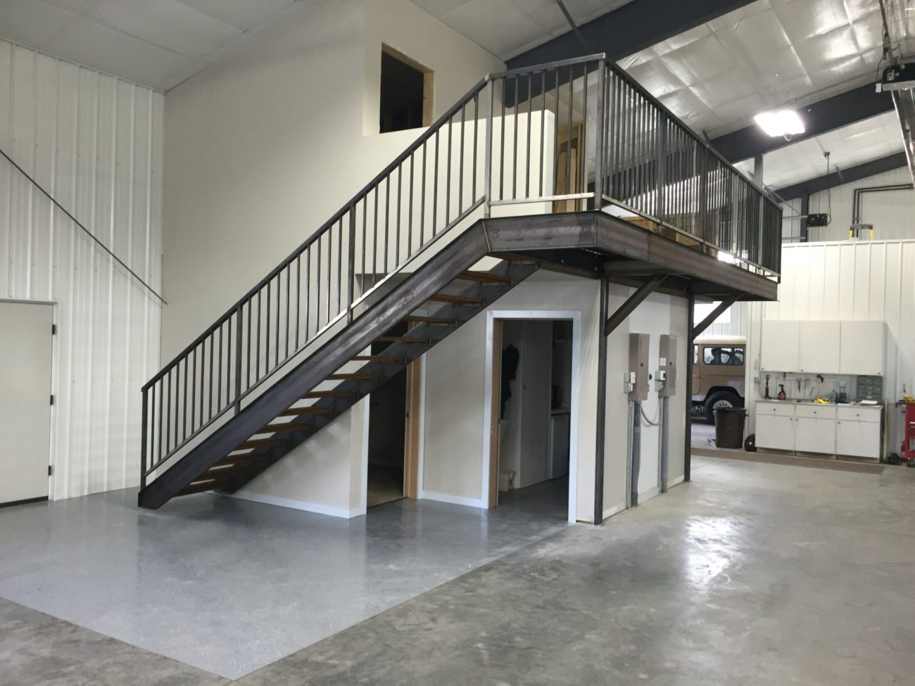 Stairs And Mezzanine Access. Bar Grate Treads C Channel Stairs Stringers  Tube Steel Railing. Raw Finish Steel. [ID: SR11]
