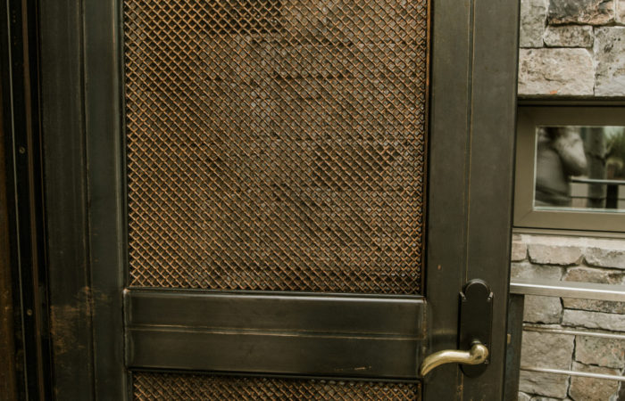 Tube Steel Door Frame With Crush Screen Infill. Raw Finish