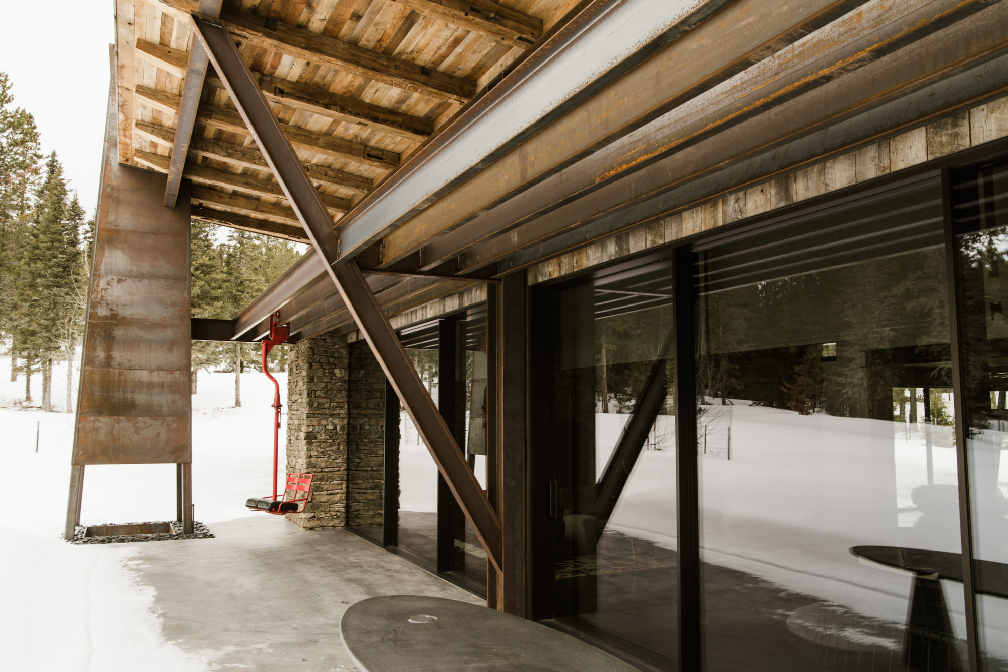 Exposed Exterior Structural Steel And Outdoor Fireplace Chimney